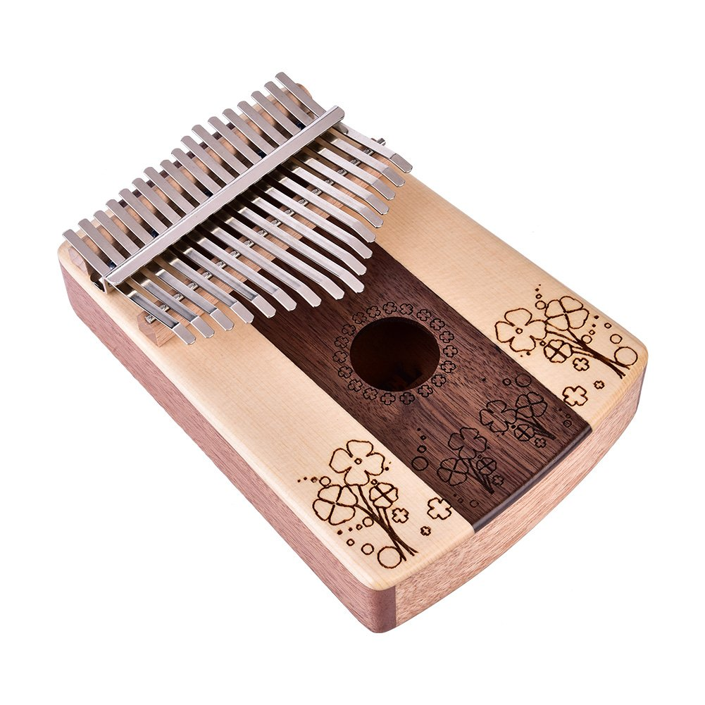 17 Key Kalimba Thumb Piano, Four-leaf Clover Pattern Finger Piano 17 Tone Musical Instrument Toy with Tuning Tool Sticker Storage Bag