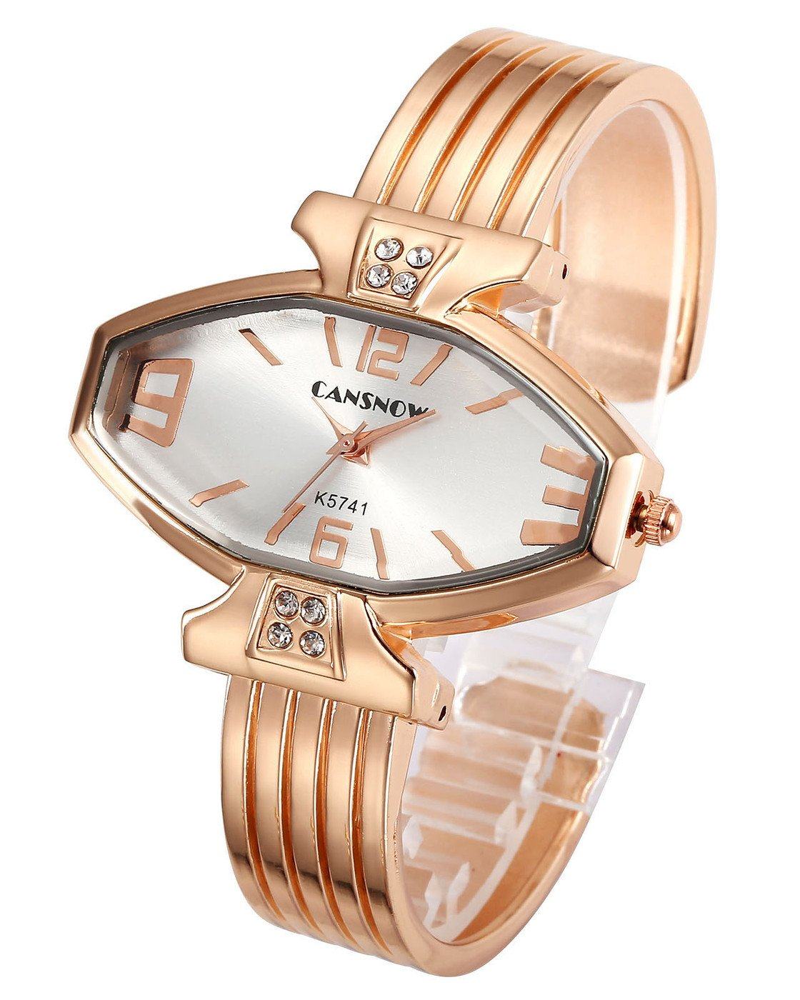 Top Plaza Women Ladies Casual Luxury Gold Rose Gold Tone Alloy Analog Quartz Bracelet Watch Rhombus Dial Rhinestones Decorated Elegant Dress Bangle Cuff Wristwatch-Rose Gold Case Silver Dial