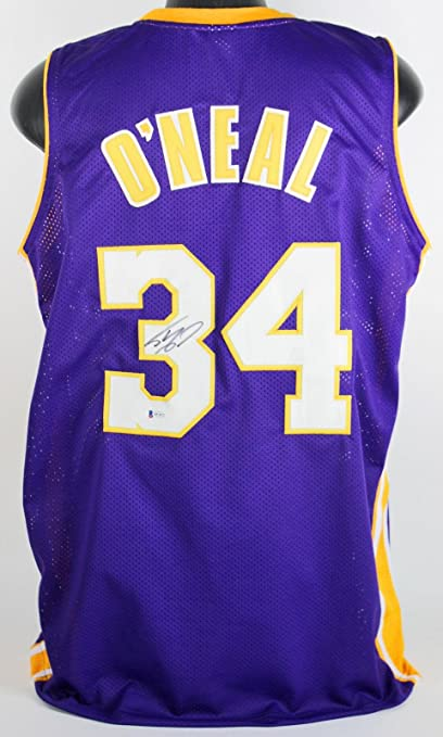 acc4f42b7 Lakers Shaquille O Neal Signed On  3 Purple Jersey Autographed BAS -  Beckett Authentication