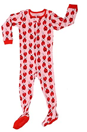 1320988d0a Elowel Baby Girls Footed Ladybug Pajama Sleeper 100% Cotton 5 Toddler