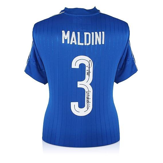 exclusivememorabilia.com Camiseta de fútbol Italia 2016-17 firmada por Paolo Maldini. En Caja de Regalo: Amazon.es: Deportes y aire libre