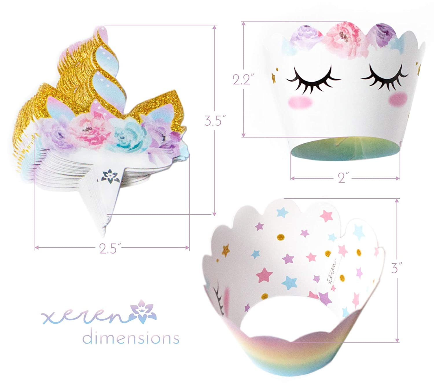 Unicorn Cupcake Decorations By Xeren Designs 24 sets Double Sided Toppers and Wrappers Cute Girls Birthday Party Supplies Rainbow and Gold Glitter Decorations