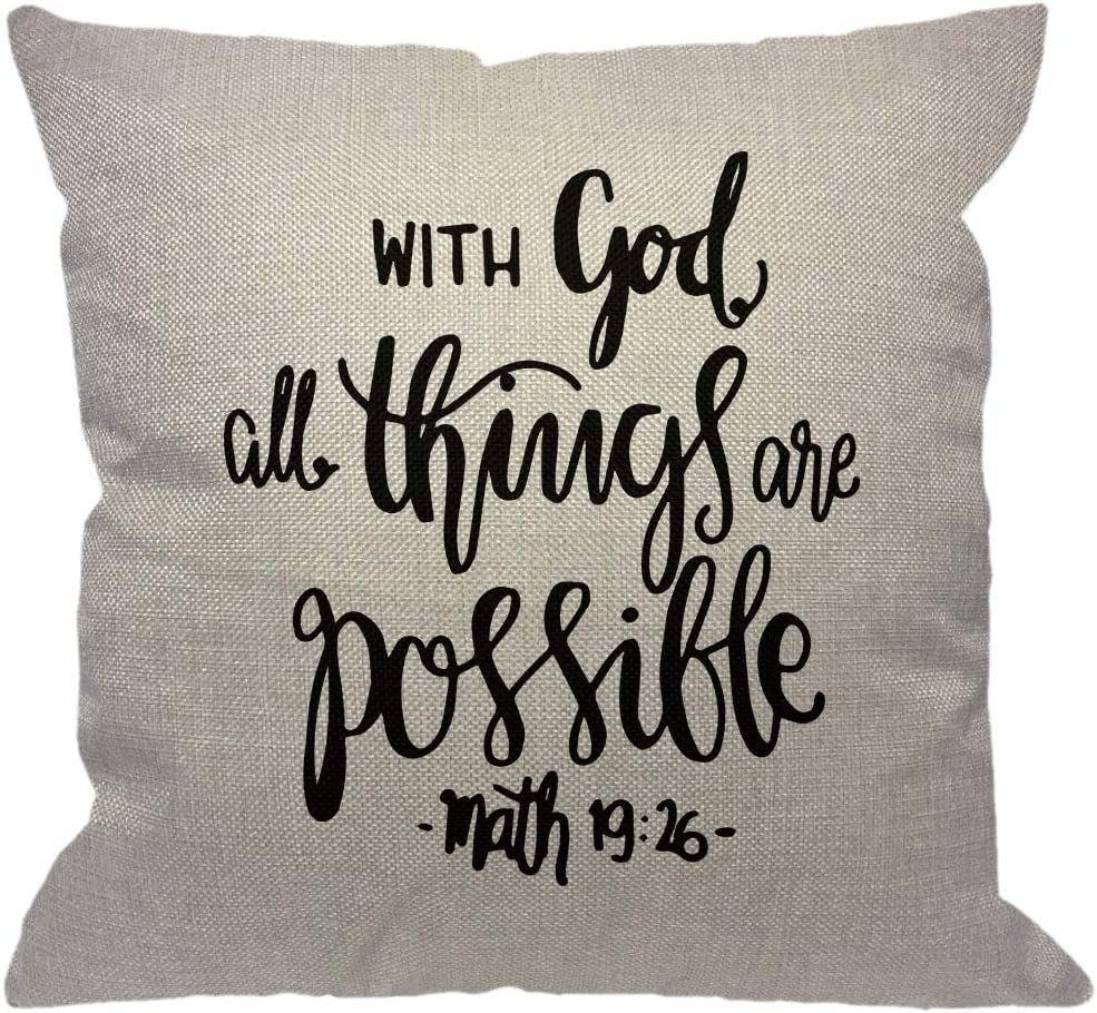 HGOD DESIGNS Bible Verse Throw Pillow Cover,Religious Christian Hope with God All Things are Possible Quote Decorative Pillow Cases Cotton Linen Square Cushion Covers for Home Sofa Couch 18x18 inch