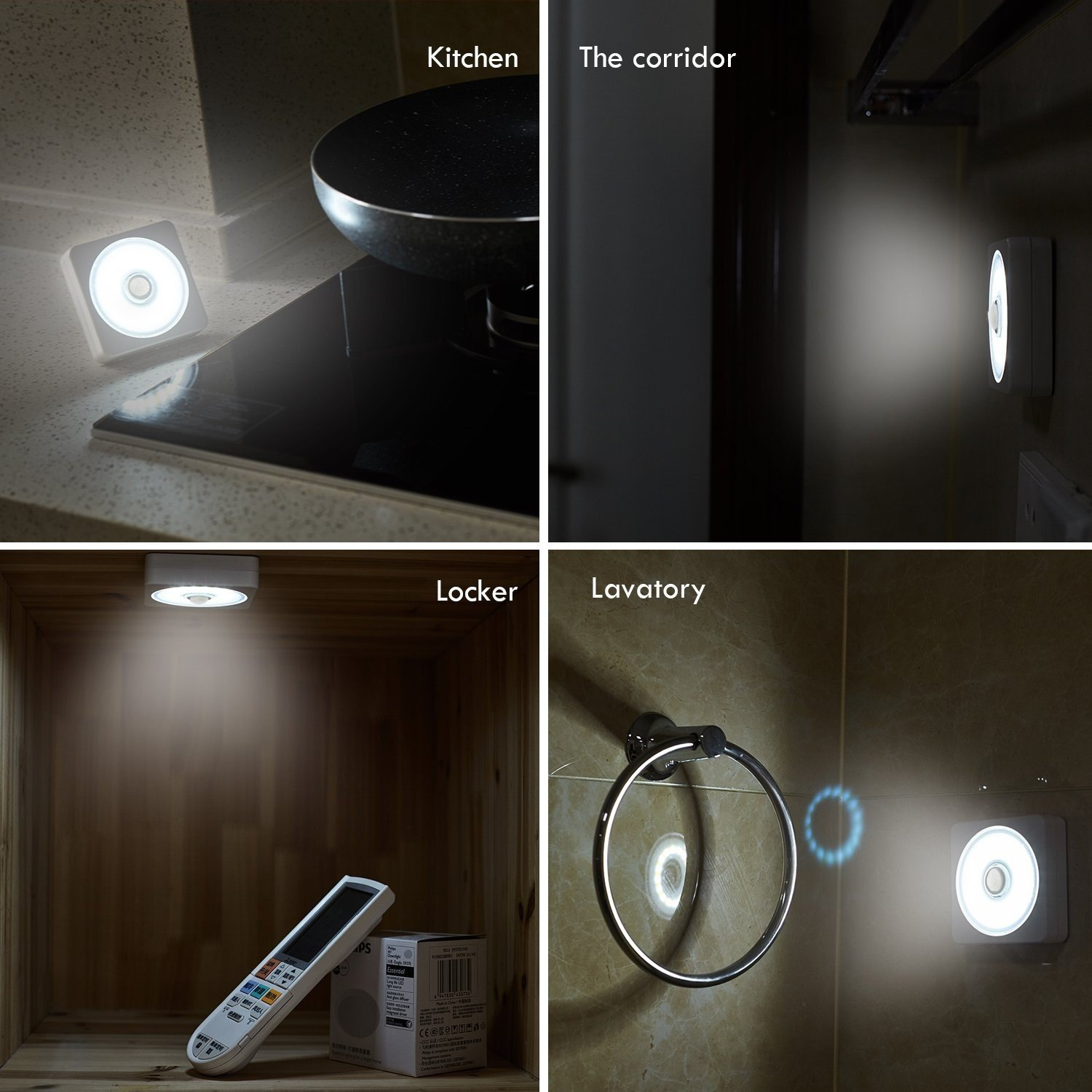 Batteries Included Counters Cabinets 4-Pack AlltroLite Square LED Battery Powered Tap Lights COB LED Stick On Push Lights Puck Lights with Magnetic Mount and Hook for Closets