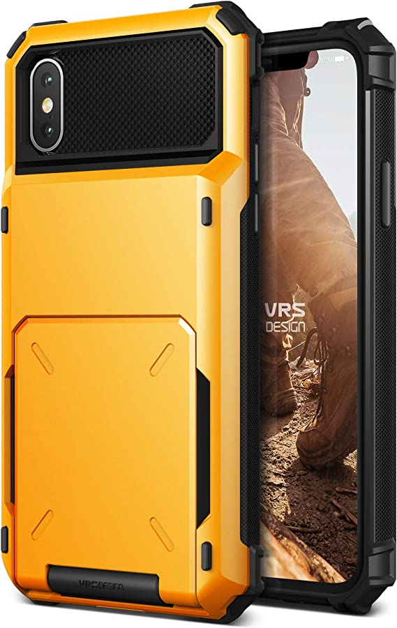 VRS Design iPhone X / XS Case, [Damda Folder] Protective Wallet 5 Card Holder Case Premium Shockproof Heavy Duty Cover Compatible with Apple iPhone X / XS - Volcano Yellow