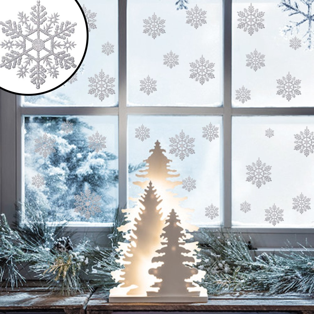 45x Glitter Window Stickers, Christmas Silver Snow Flake Xmas Home Decoration Craft Fair