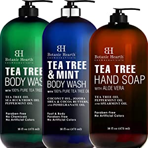 Botanic Hearth Tea Tree Body Wash, Tea Tree Mint Body Wash, and Tea Tree Hand Soap Bundle - Gently Wash Away Impurities