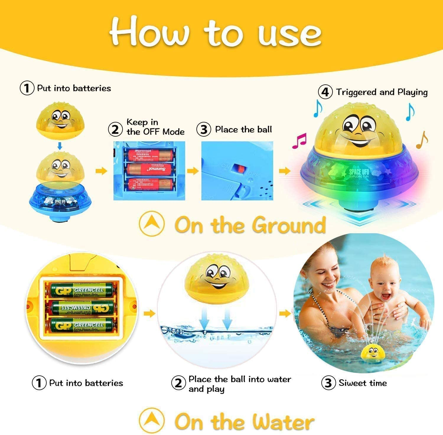 Baby Bath Toys with Music Lamp Automatic Induction Water Spray Bathtub Toy for Toddlers Kids Boys and Girls Water Space Toys Fun Yinuoday Bath Toys
