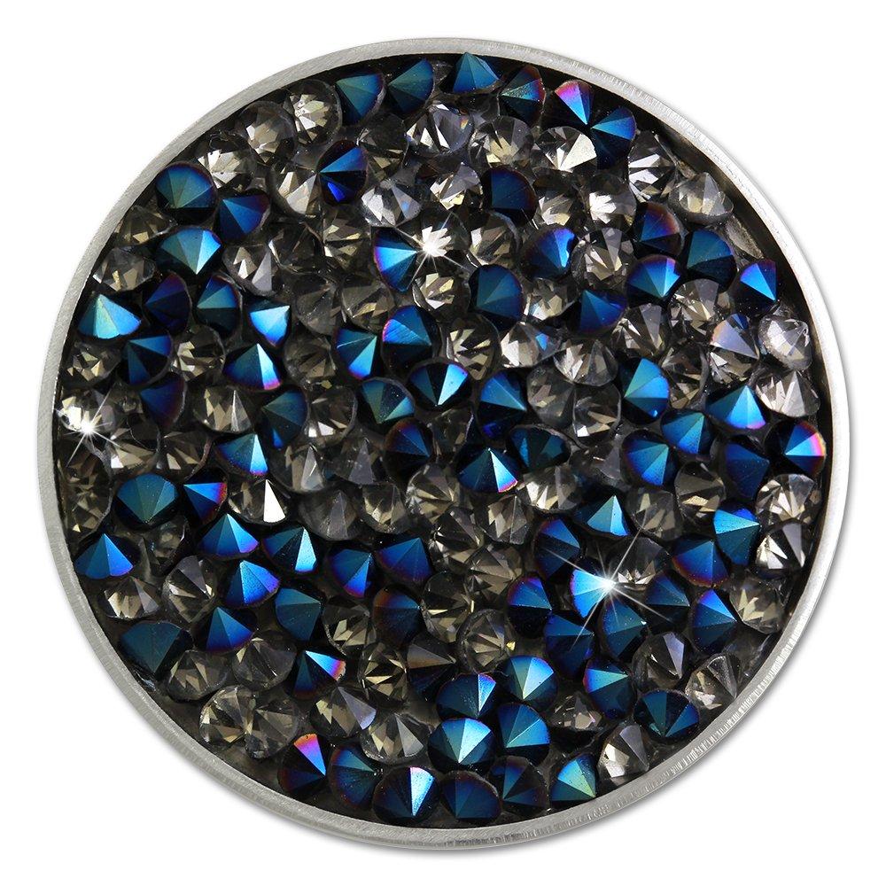 Amello Coin Acier inoxydable Zircon bleu/gris pour support de Coins Medaillons Bijoux pour Femme ESC302B