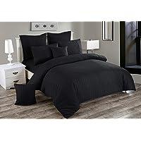Seersucker Doube/Queen/King/Super King Size Bed Doona/Duvet/Quilt Cover Set New (2 x Cushion Covers, Black)