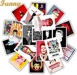 Rock Singer David Bowie Stickers Decals 25pcs for Laptop Water Bottles Phone Bumper Skateboard Luggage Bicycle Guitar Car
