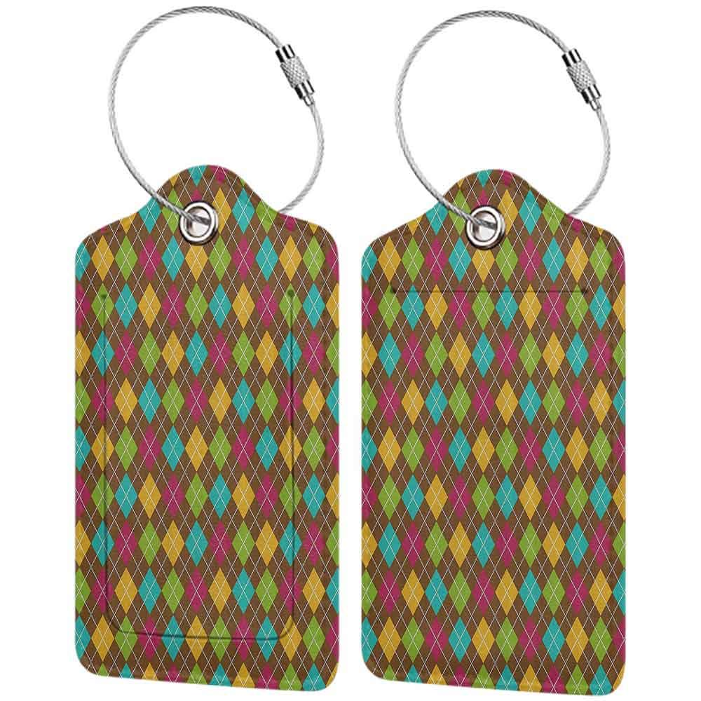 Decorative luggage tag Geometric Bold Aryle Pattern Colorful Squares Dotted Lines Autumn Colors Checkered Design Suitable for travel Multicolor W2.7 x L4.6