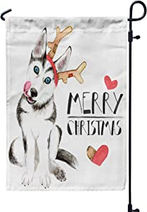 Jacrane Welcome Small Garden Flag 12X18 Inches Husky Puppy in Santa Hat Dog The Horns Deer Isolated White Background Christmas Card a Double-Sided Seasonal House Yard Flags Decorative