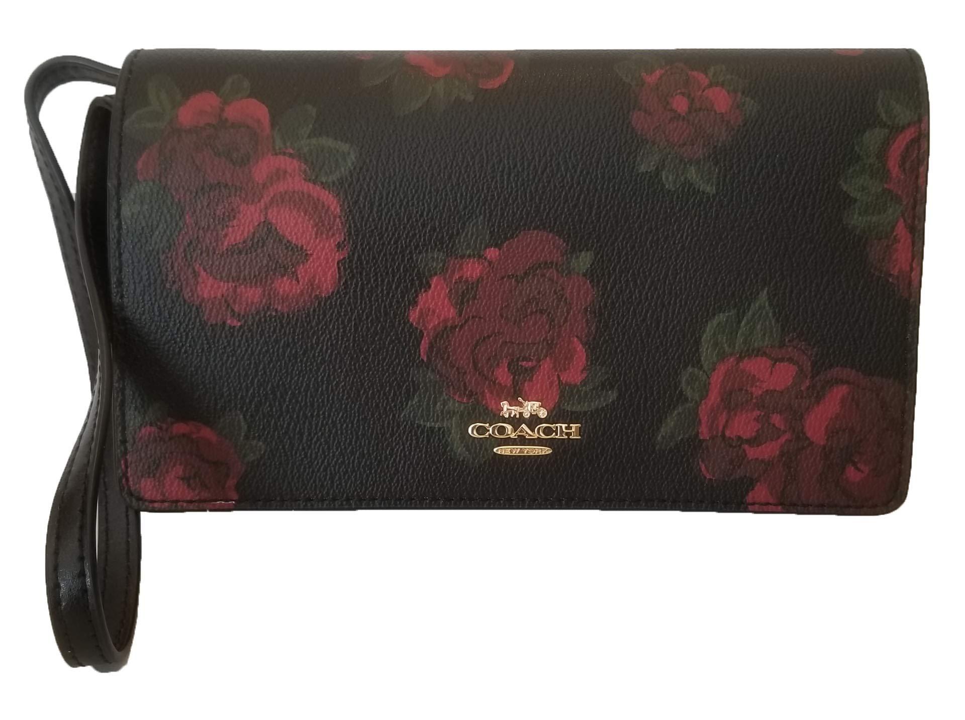 Coach Hayden Foldover Crossbody Clutch Wallet Jumbo Floral Print Glovetanned Leather (Black Multi/Black)