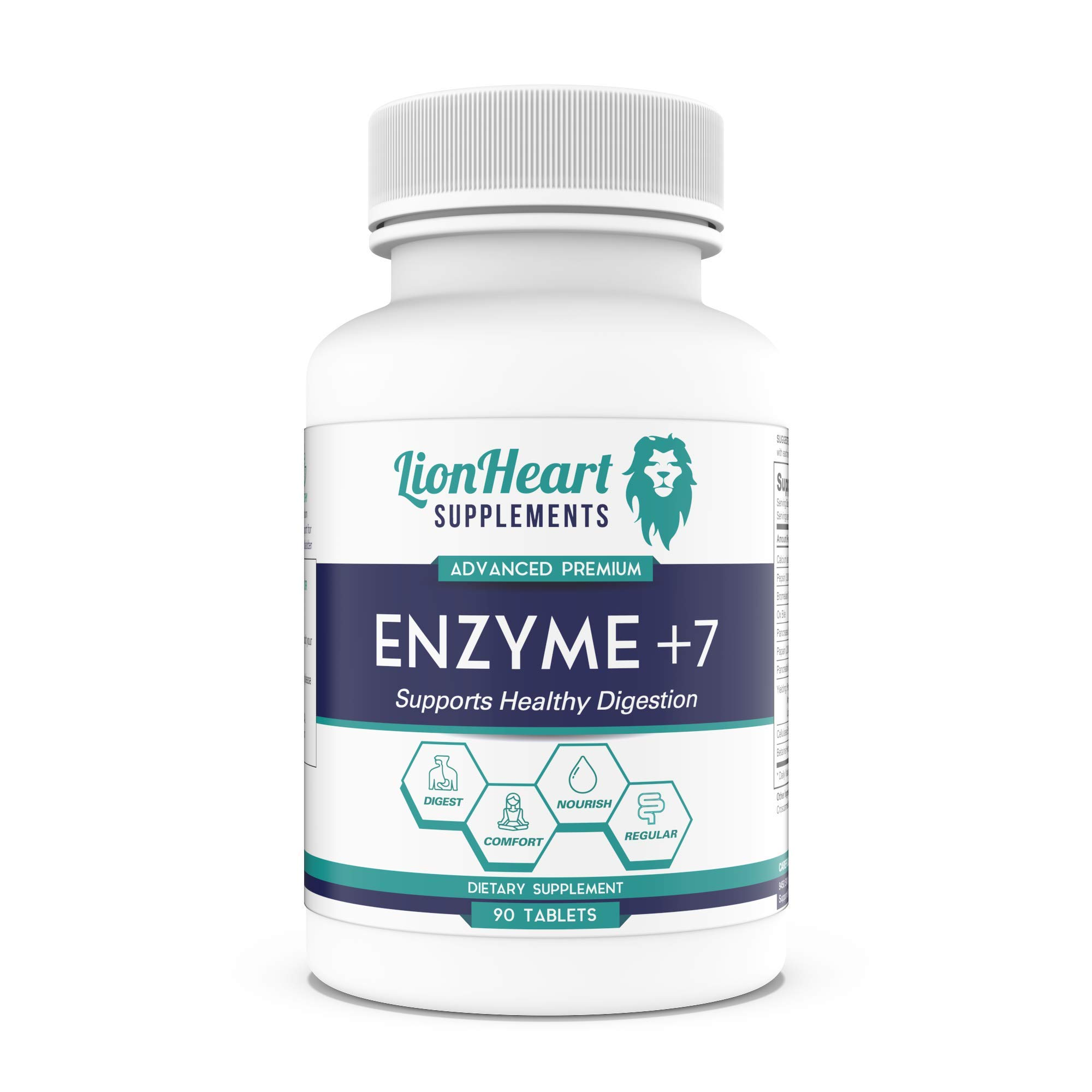 Best Digestive ENZYMES Supplement - Purified OX Bile Salts - Tablets for No Gallbladder - Enzyme for Digestion Relief Women & Men - Help Bloating, Controls IBS, Acid Reflux & Constipation by LionHeart Supplements