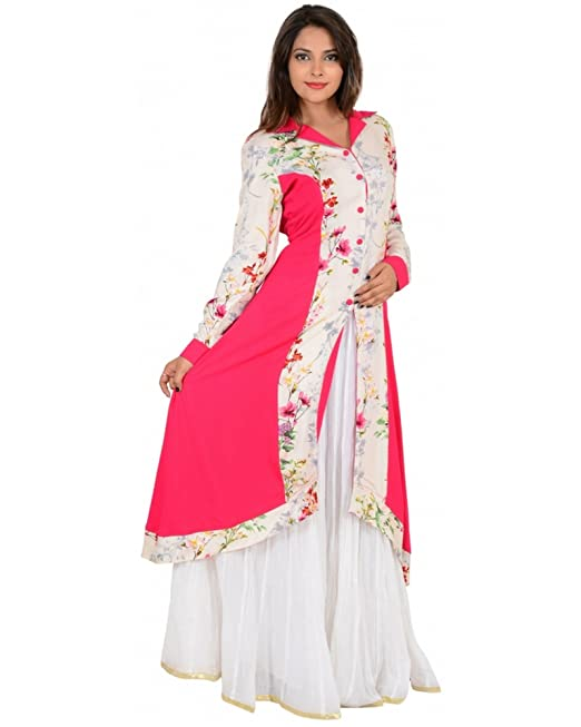 0862541c3a8 Ocean Vision Rayon Printed Kurti with front open slit  Amazon.in  Clothing    Accessories