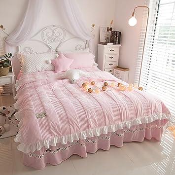 jibuteng home textiles soft coral velvet korean bed skirtwinter warm duvet cover set