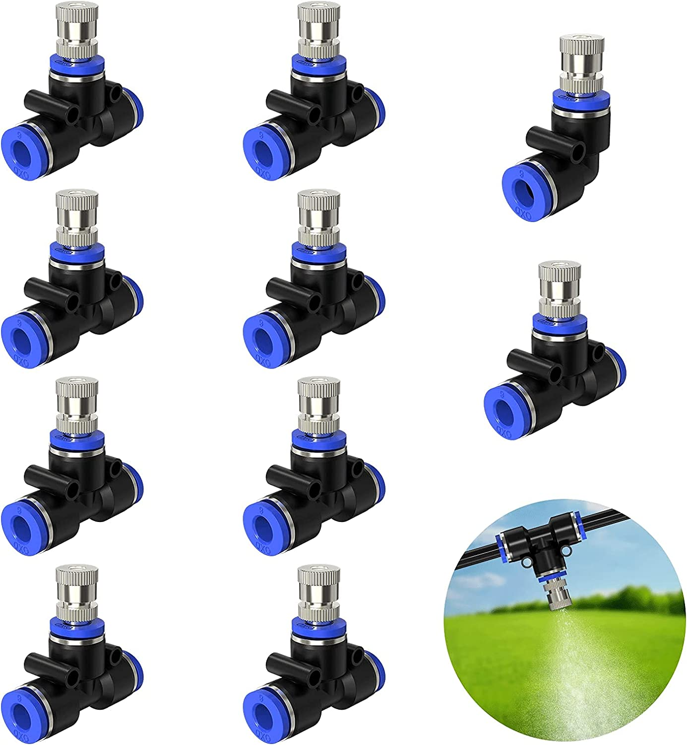 """REDTRON 10PCS Misting Nozzles, Mist Nozzle Tees for 1/4"""" Tubing, 0.4mm Orifice Nozzle for Patio Garden Greenhouse Trampoline and Outdoor Cooling System"""