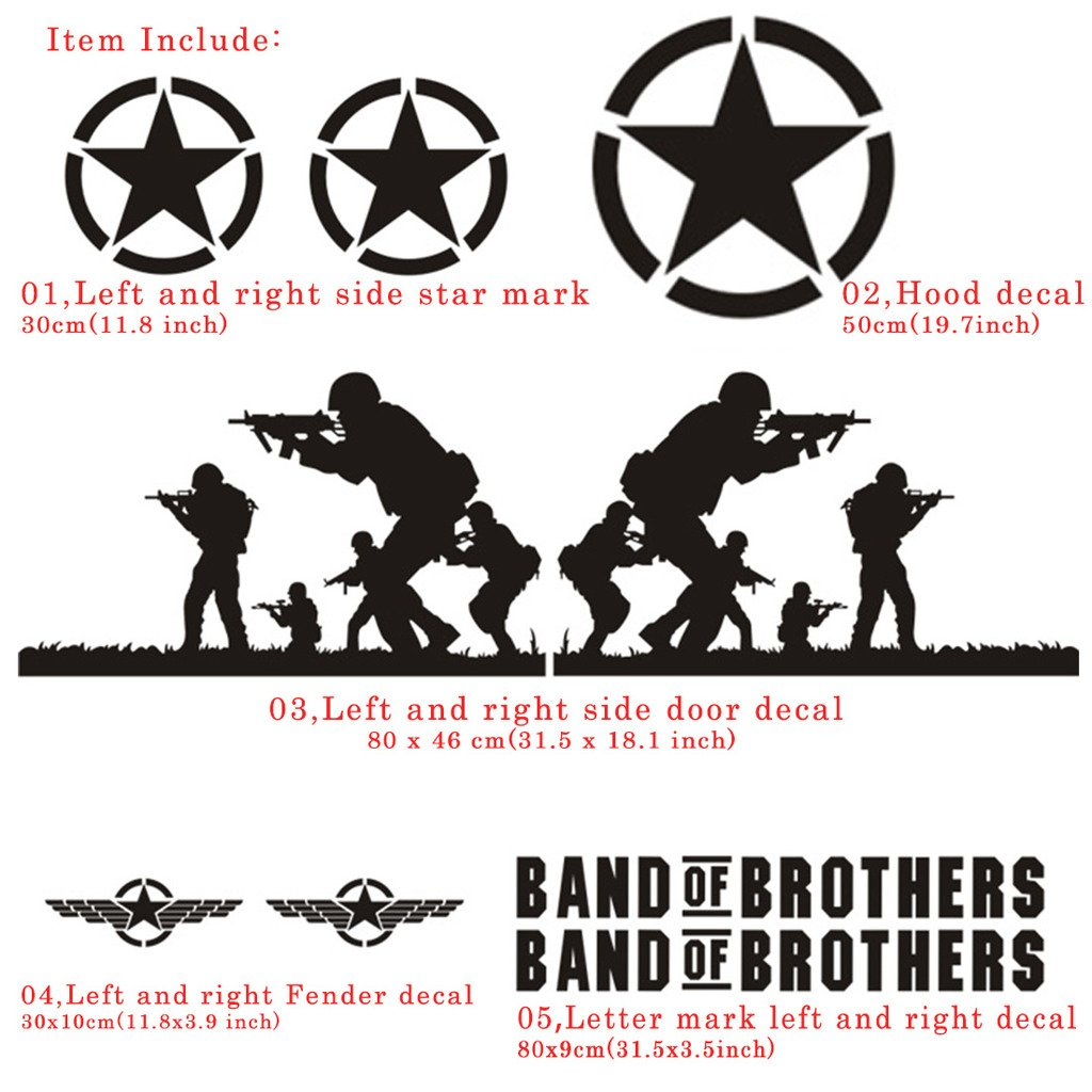 Kaizen band of brothers vinyl sticker side skirt decal whole body graphic decal for jeep wrangler and any motorcyclesuvtruck or sedan car color black