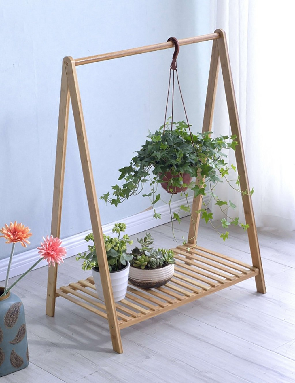 GAOCHAOXIANGHJ Blumentopf Regal Holz Bodenart Einzelne Schicht Blumenregal europäischer Stil Ländlichen Innen- draussen Bonsai steht
