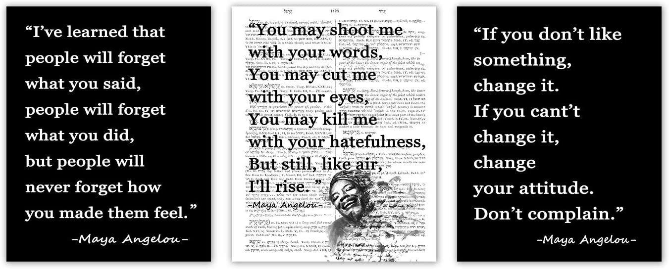 3pcs Maya Angelou Poster Feminist Canvas Wall Art Prints Unframed Inspirational I'll Rise Black Gifts for Women Writer Poet Home Decor 8x10 Inches