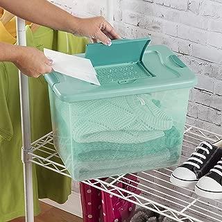 product image for Sterilite 15057Y06 25 Qt, 24L Fresh Scent Box, Aqua Tent base with Aqua Chrome Lid & Teal Splash Latches, 6-Pack