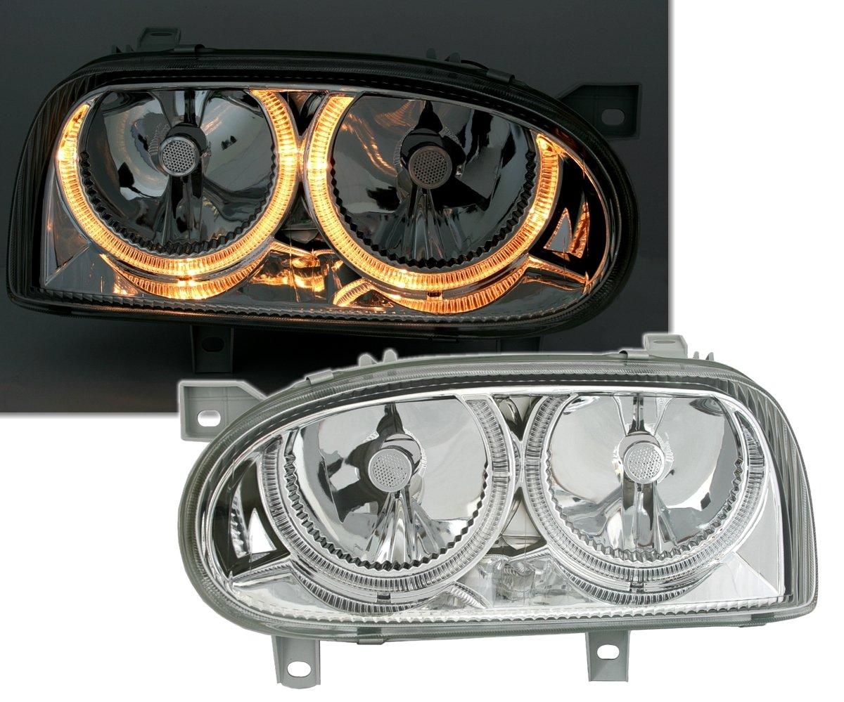 Faros delanteros Angel Eyes Set, transparente cristal cromo, con anillos de luz AD Tuning GmbH & Co. KG