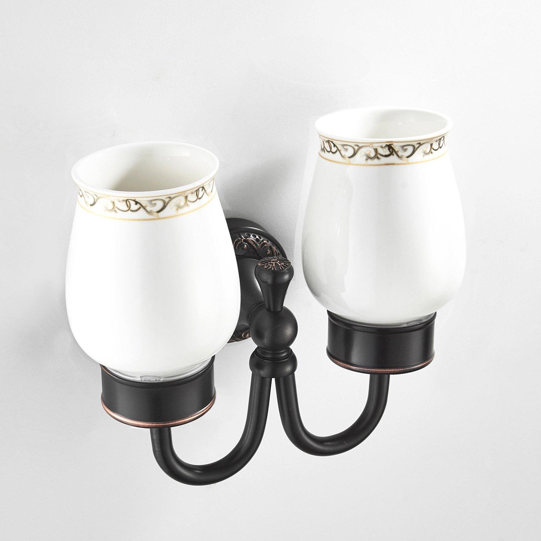 Wellsum Wall Mount Bathroom Annular Towel Ring Brushed Finish Lavatory Hardware Archaistic Black Solid Brass