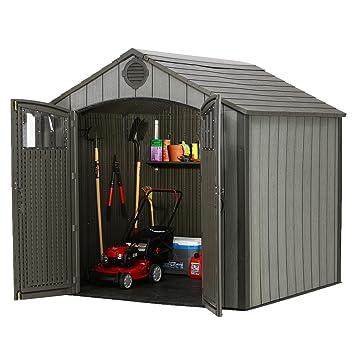8 ft x 10 FT imitación de apariencia de madera jardín cobertizo de almacenamiento para herramientas taller verano casa: Amazon.es: Jardín