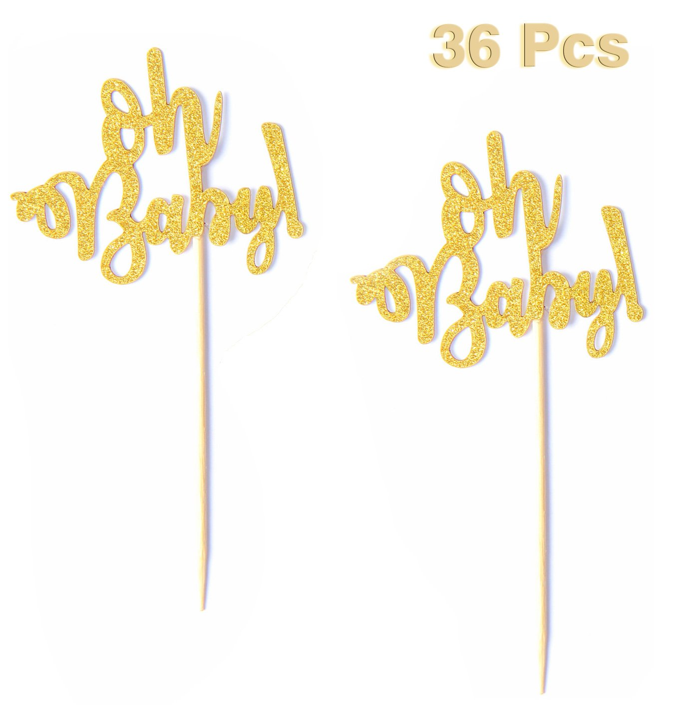 Set of 36 Golden Oh Baby Cupcake Toppers Baby Shower Party Decors Decorations Baby's Birthday Supplies