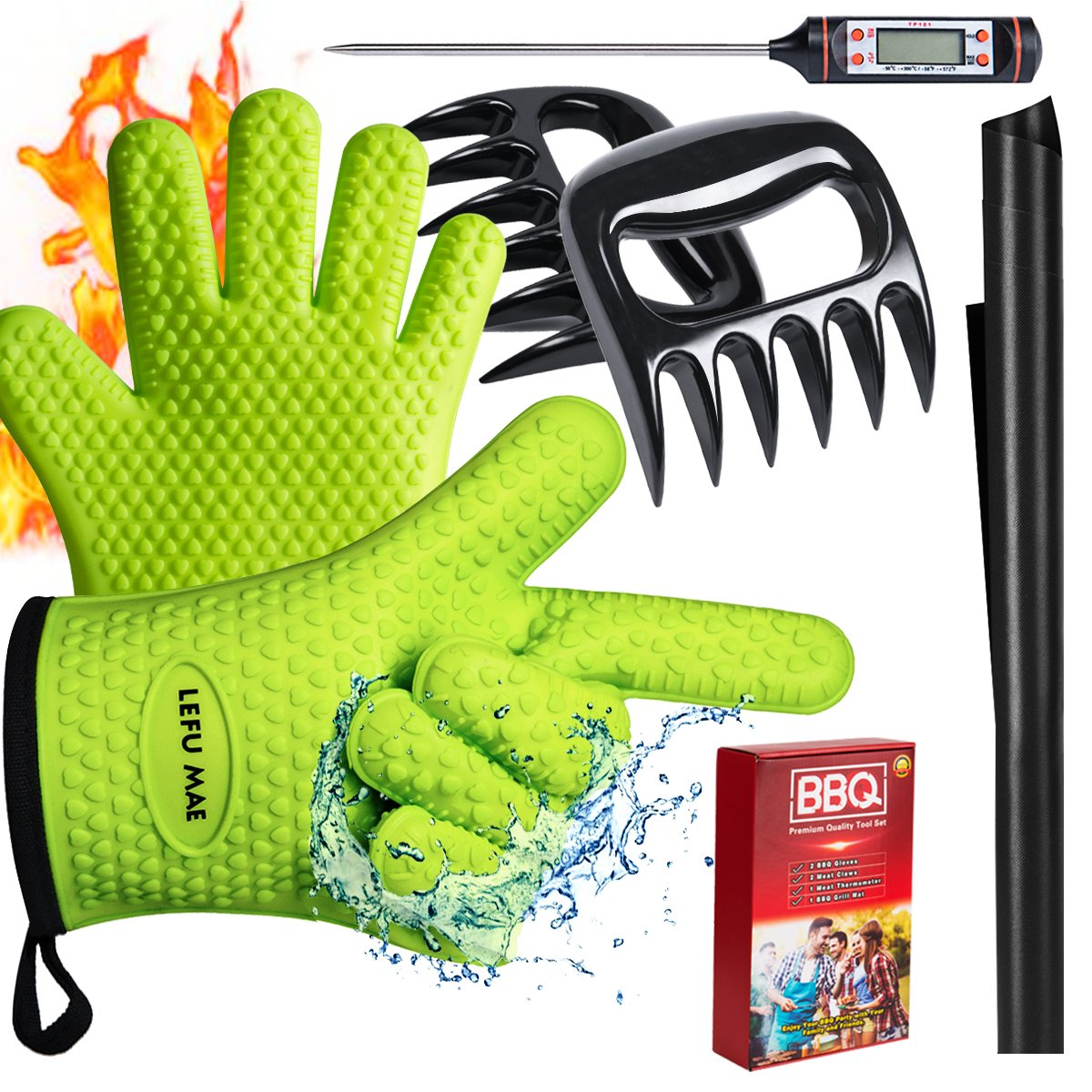 Lefu Mae BBQ Oven Gloves Heat Resistant, Meat Thermometer, Meat Shredder Claw and BBQ Grill Mat (4 in 1) BBQ Grill Accessory for Indoor Outdoor Cooking with Gift Box SHENZHEN