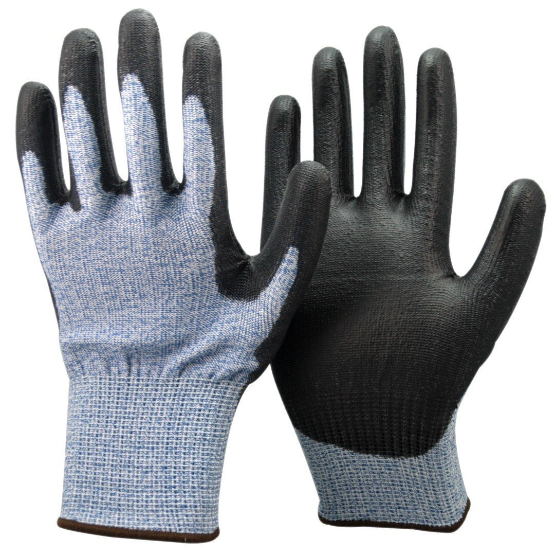Unisex Black and Blue Anti Cut Resistant Level 5 (Highest) Gloves. CE Certified, Ideal For Gardeners, Work, DIY, Builders, Electricians and Plumbers. (Small EU 8) Easy Off Gloves