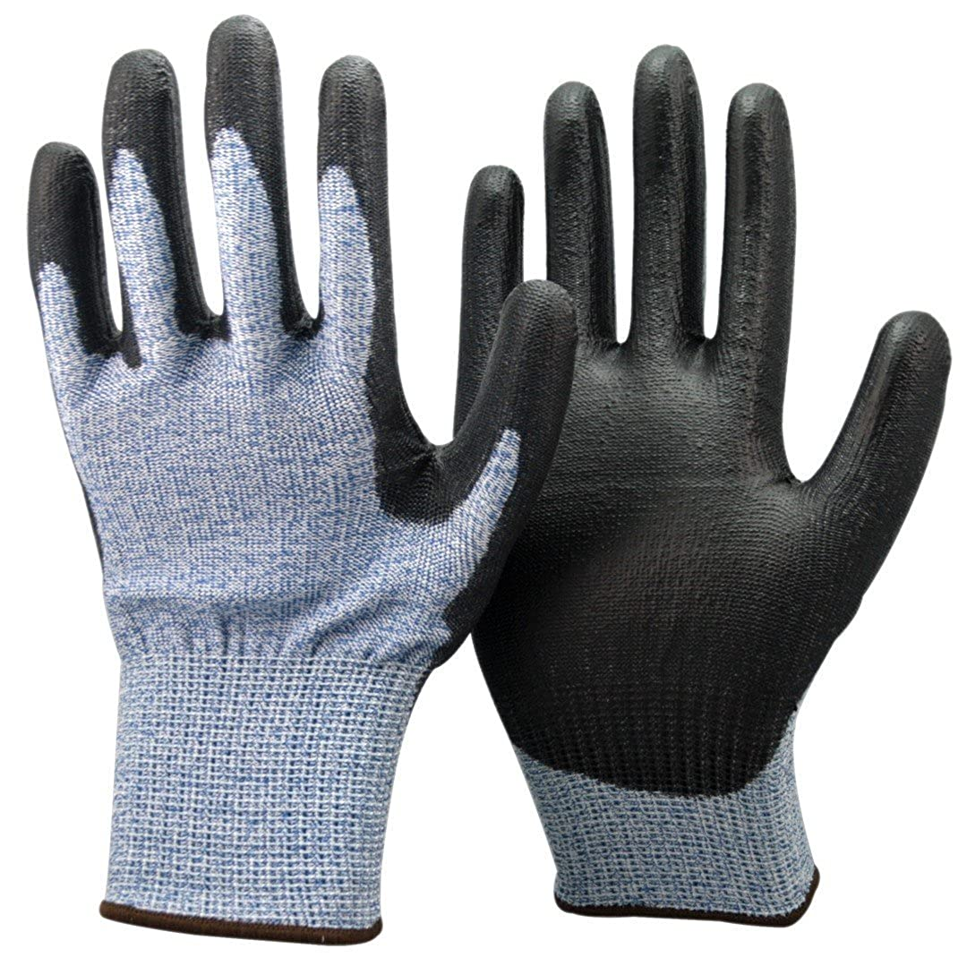 Level 5 Cut Protection Safety Work Gloves PU Coated with Green Liner500GRB