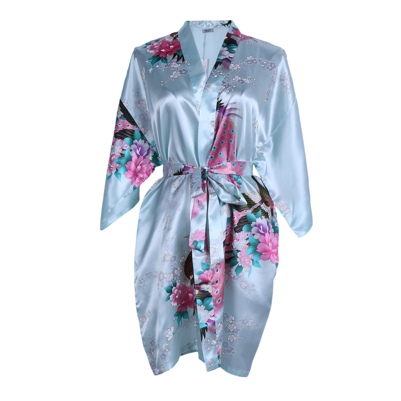 Elite99 Women's Sexy Robes Peacock and Blossoms Kimono Satin Nightwear Mini Dress
