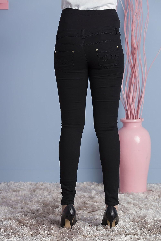 MOM Schlichte Super Skinny Schwangerschafts-Jeans mit verstellbarem /Überbauchbund Umstandshose M.M.C Bequeme Schwangerschaftshose mit /Überbauchbund Umstandsjeans Umstandsmode