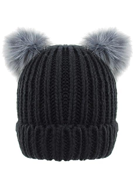 Luxury Divas Black Knit Beanie Cap Hat with Pigtail Pom Poms at Amazon  Women s Clothing store  2704ea60270