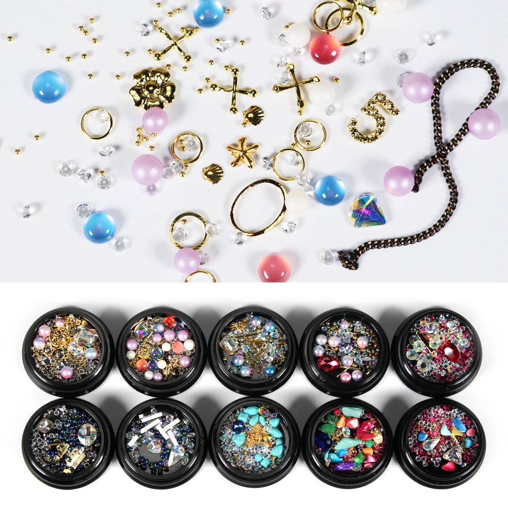 BlueZOO Mixed Nail Art Rhinestones Diamonds Décor Accessories Decorations Crystals Metal Studs Beads Gems for DIY Décor Pack of 10