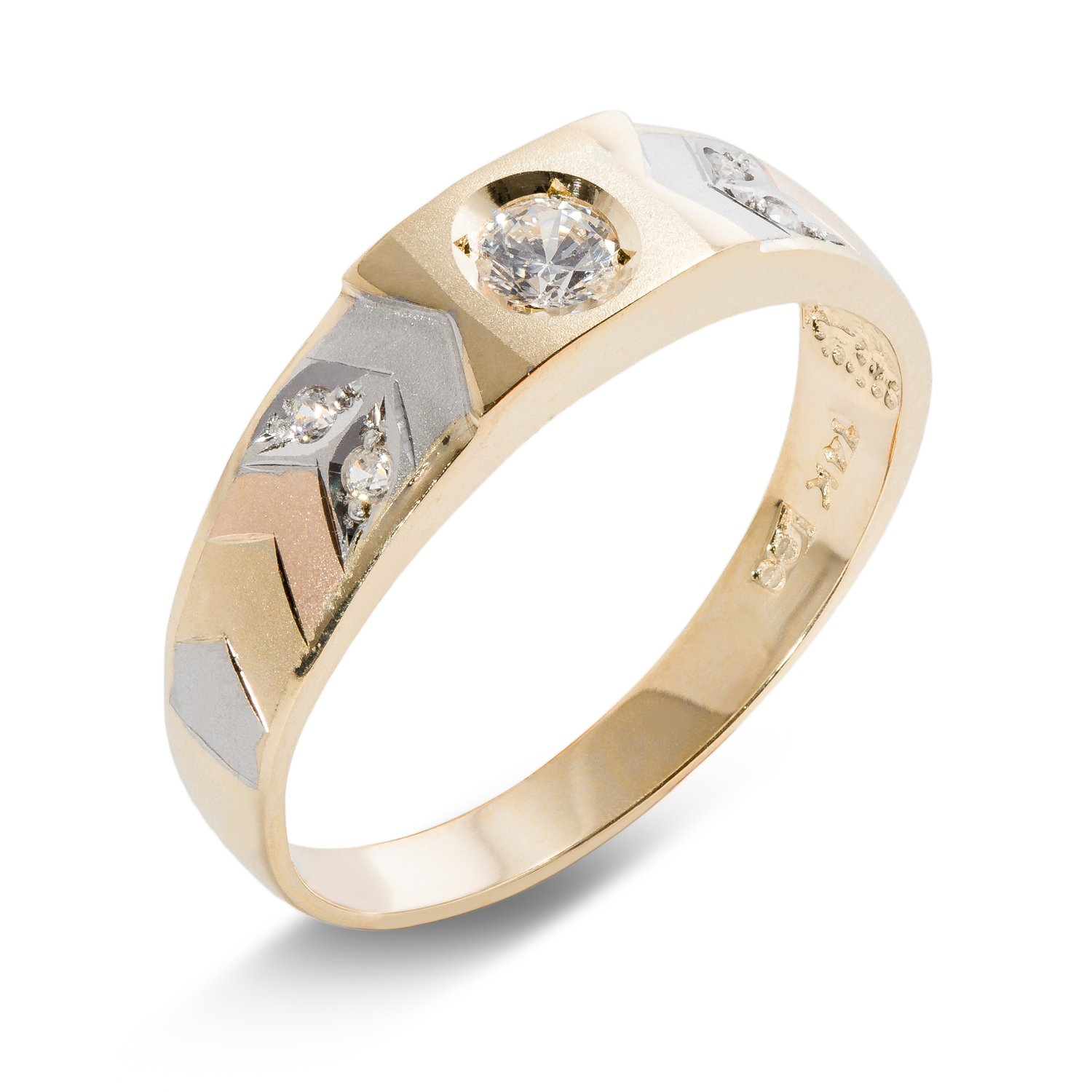 14K Solid Gold Tri Color Gold CZ Stones Mens Wedding Ring Ioka