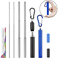 ZXK CO 2 Pack Collapsible Reusable Drinking Straws, Portable Stainless Steel Metal Straw Telescopic Silver Straw With…