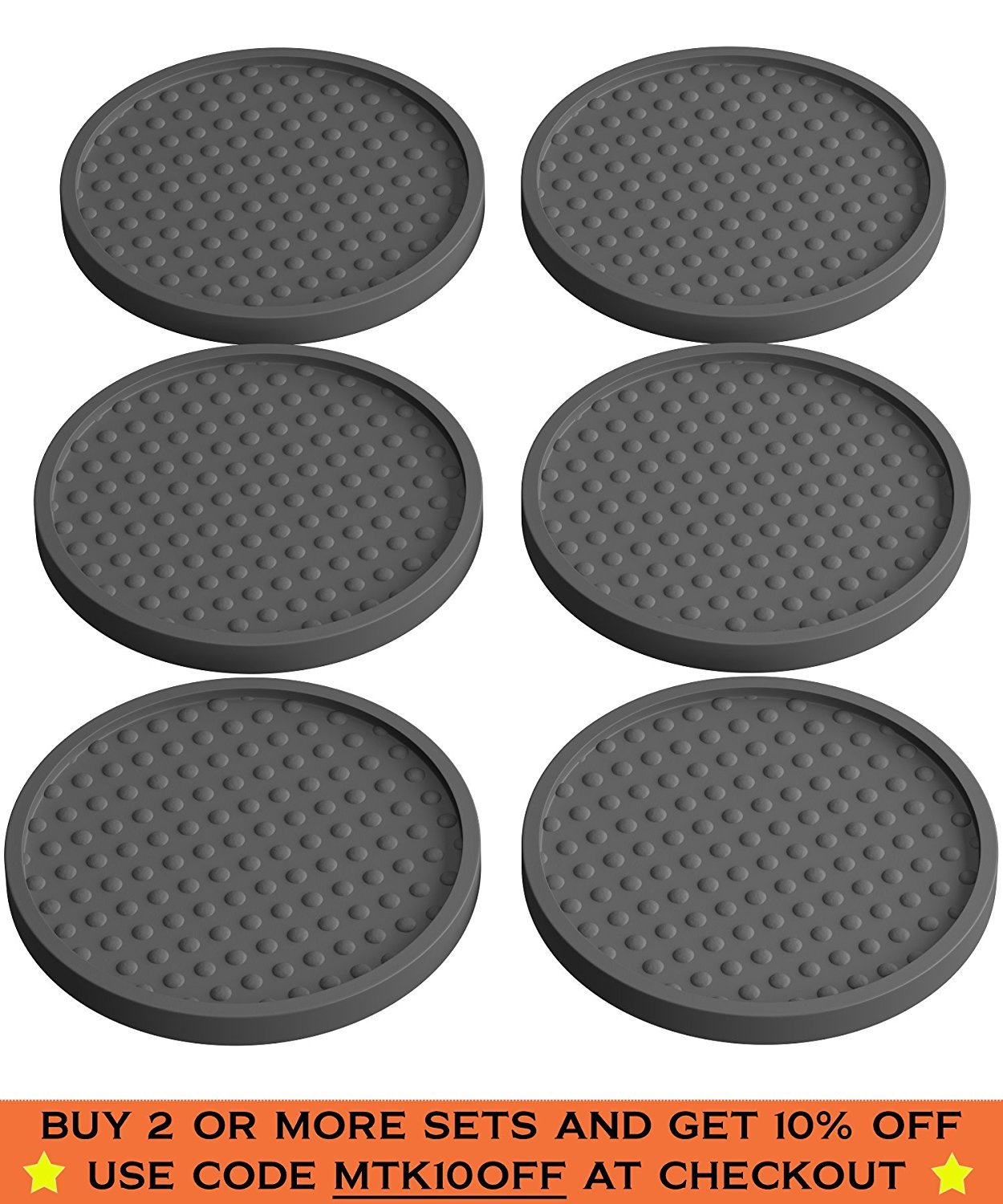 amazoncom  drink coasters silicone  pack with good grip on any  - amazoncom  drink coasters silicone  pack with good grip on any table orbar prevents furniture damage large modern soft rubber coaster place matfor