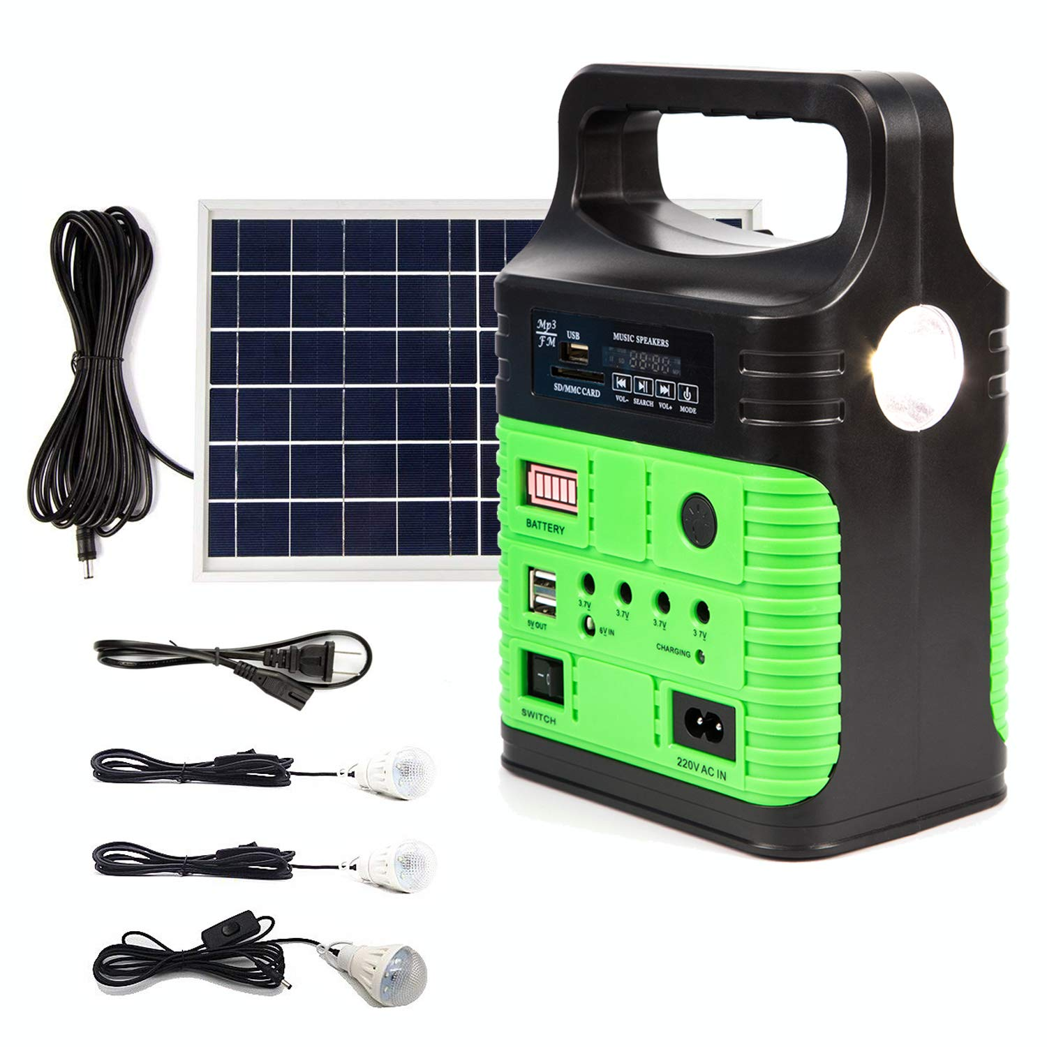Portable Solar Generator Lighting System - UPEOR Solar Power Generator Kit for Emergency Power Supply,Home & Outdoor Camping,Including MP3&FM Radio,Solar Panel,3 Sets LED Lights(Green) by UPEOR