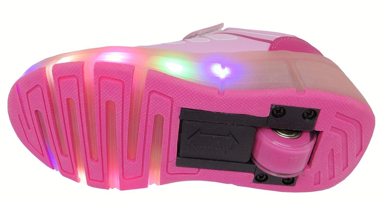 Amazon.com   FanGoods PU Light Up Flashing Wheeled Heel Skate Shoes Led Roller Sneakers Pink (US Size 13---Toe-heel(cm) 19.1)   Skateboarding