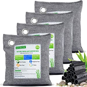 NIYIKOW Bamboo Charcoal Air Purifying Bag (4 Pack), Activated Charcoal Odor Absorber, Odor Eliminator for Home, Car, Closet, Pets, Basement - 4x200g