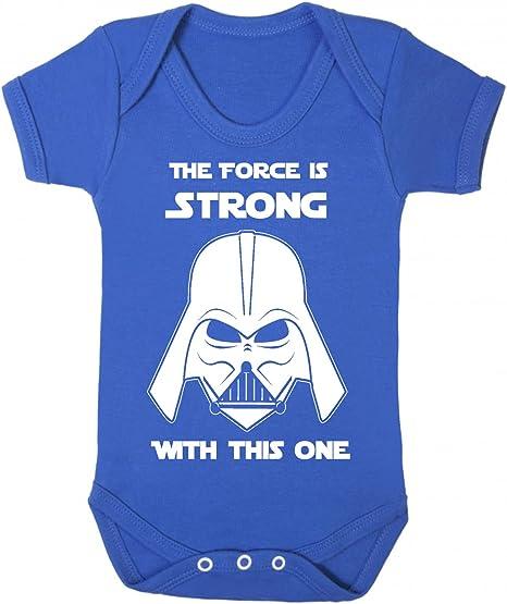 The Force is Strong with this one Star Wars Novedad bebé chaleco de pijama, novedad de Jedia azul real Talla:3-6 meses