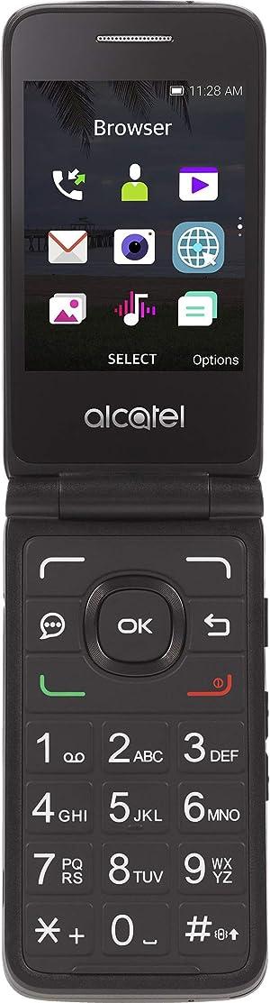 Simple Mobile Carrier-Locked Alcatel MyFlip 4G Prepaid Flip Phone- Black - 4GB - Sim Card Included – GSM