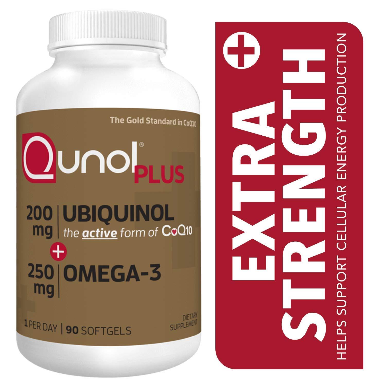 Qunol Plus Ubiquinol Coq10 200mg with Omega 3 250mg Extra Strength Antioxidant (Bovine Version), 90Count by Qunol