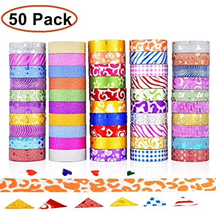 Gcoa 50 Rolls Glitter Washi Masking Tape Set Great For Arts And Crafts Diy Scrapbooking Sticker Masking Paper Decoration Tape Adhesive School Party