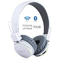Volume Limited + Wireless Bluetooth Kids Headphones, Termichy wireless/wired Foldable Stereo over-Ear headsets with music share port and Built-in Microphone for calling (White-2)