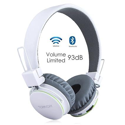 Auriculares Inalámbricos Bluetooth para Niños Adulto, Cascos Recargables y Plegables con Micrófono y Limitador de