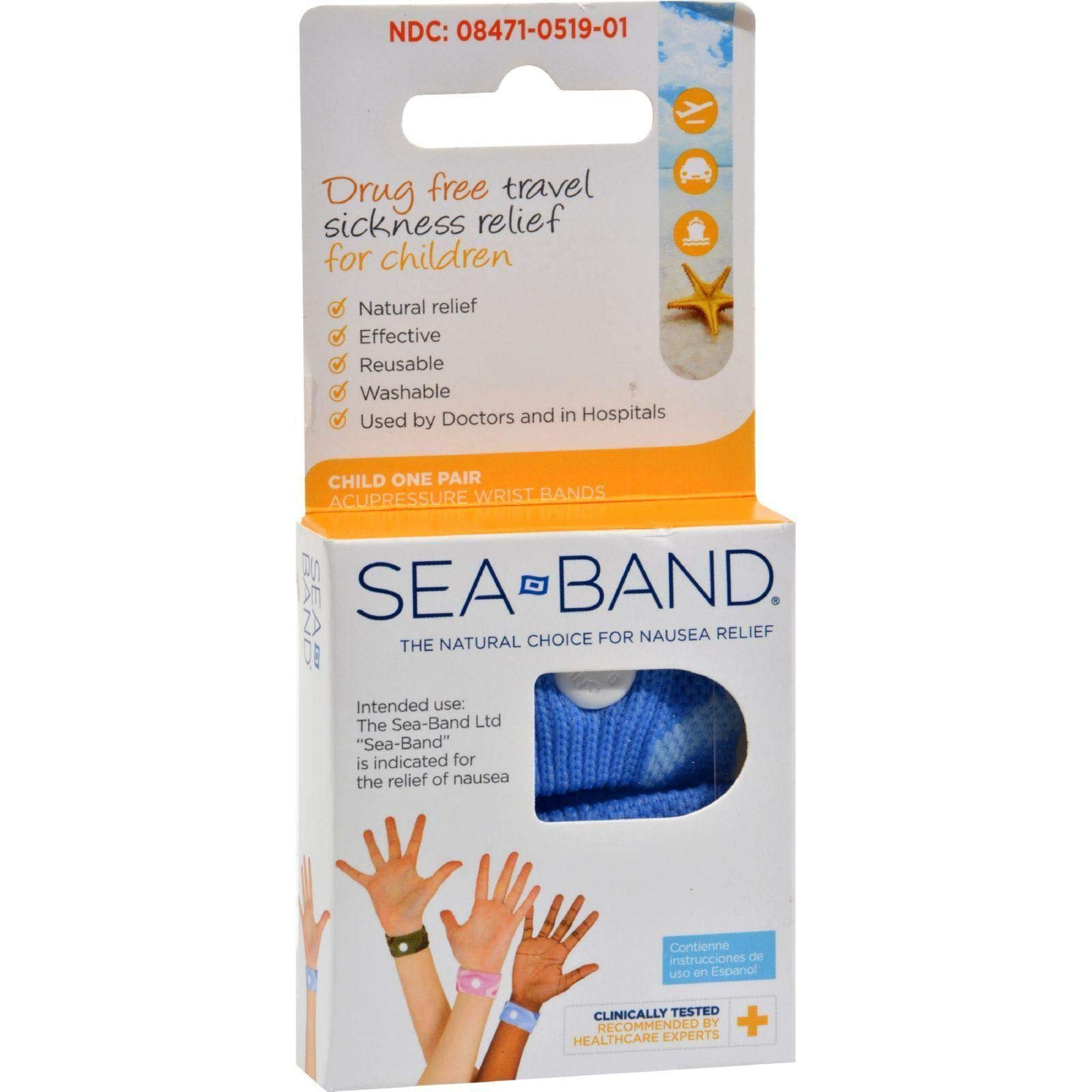 Sea-Band For Children Wristband 1 Pair Blue